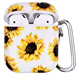 Airpod Case with Flower Pattern and Keychain,OLEBAND Hard and Shockproof Airpod Cover for Men Women and Girls,Accessory Skin for Air pod 2 and 1(Sunflower)