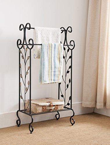 Negro metal libre de pie toallero soporte estante de almacenamiento con y dorado diseño de hojas