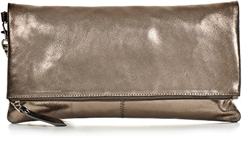 CNTMP, Damen Handtaschen, Clutch, Clutches, Clutchbags, Unterarmtaschen, Partybags, Trend-Bags, Metallic, Leder Tasche, 32x17x2,5cm (B x H x T), Farbe:Anthrazit