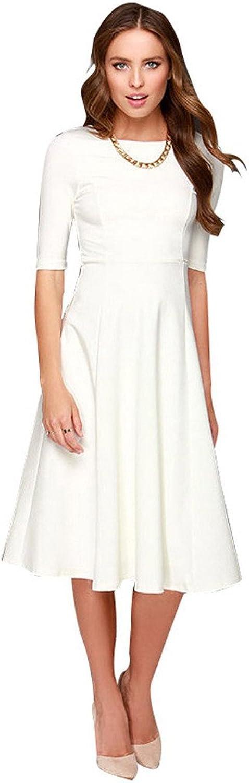 Dantiya Women's Half Sleeve Elegant Back Zipper ALine Knee Long Dress
