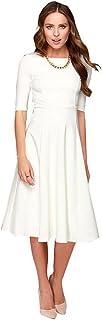 Dantiya Women's Half Sleeve Elegant Back Zipper A-Line...