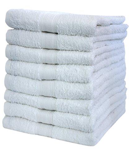 NatureMark, 100% Cotone, Bianco, 8 Asciugamani 50 x 100 cm, 8 unità