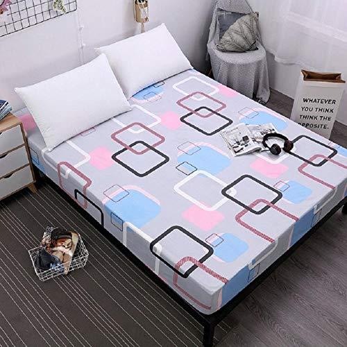 OQQE Funda de colchón con sábana Ajustable Estampada a Cuadros con sábana geométrica con Banda de Goma elástica Alrededor