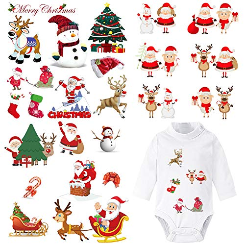 Christmas Iron On Stickers Patches for Kids 3 Sheets Washable Heat Transfer Appliques Patches Xmas Tree Sock Santa Claus Snowman Deer Decorative Patches for T-Shirt Clothing Jeans Jacket