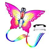 Cometa Mariposa Gran Cometa para Niños Y Adultos, Cometas De Colores Fácil De Volar Ideal para Principiantes, Juegos Al Aire Libre, Actividades, Viaje A La Playa,Rosa/Azul