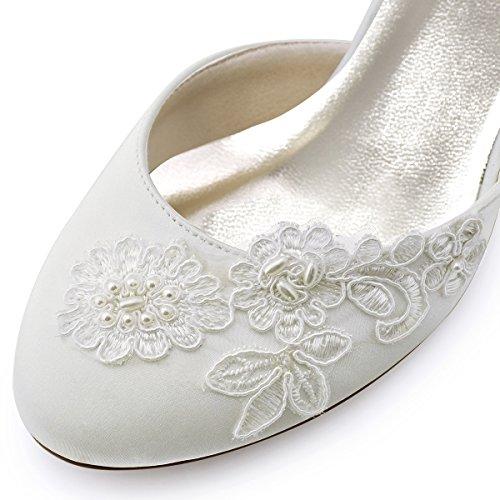 ElegantPark HC1604 Ivory Damen Geschlossene Zehen Stickerei Perlen Satin Brautschuhe EU 42 - 4