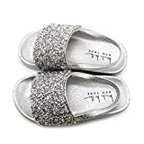 Nicole Miller New York Toddler and Little Girls Rhinestone Cluster Slide Sandles- Size 10- Age 5 Years Silver