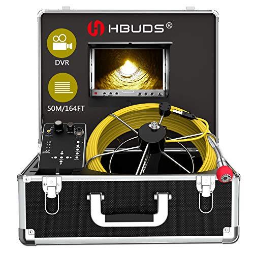 HBUDS Telecamera di Ispezione Tubo di Fognatura, Telecamera Endoscopio Impermeabile IP68 con Cavo 50M per Tecnico/Meccanico/Idraulici con Monitor LCD da 7 Pollici 1000TVL DVR Registratore