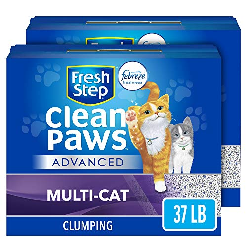 Fresh Step Advanced Clean Paws Clumping Cat Litter, Low Tracking Cat Litter with Odor Control - 37 lb (2x18.5lb Pack)
