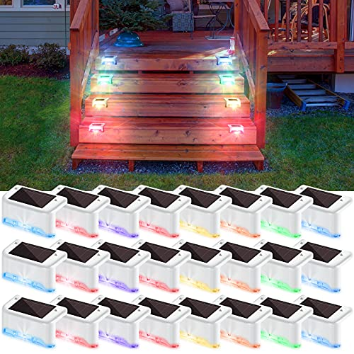Solar Deck Lights Waterproof LED Solar Step Light Powered Fence Post Lamp for Outdoor Pathway, Yard, Patio, Stairs, Step and Fences (24, Colored Light)