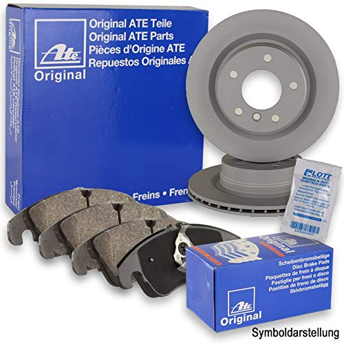 Preisvergleich Produktbild Original ATE Bremsscheiben vorne + ATE Bremsbeläge Bremsklötze Bremsenset Bremsenkit vorne Vorderachse