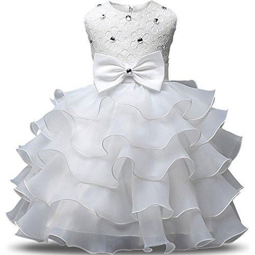 NNJXD Mädchen Kleid Kinder Rüschen Spitze Party Brautkleider Größe(100) 2-3 Jahre Weiß