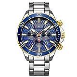 Curren Watches Men's Sport Waterproof Stainless Steel Date 3 Dials Multifunction Wrist Watch-Blue