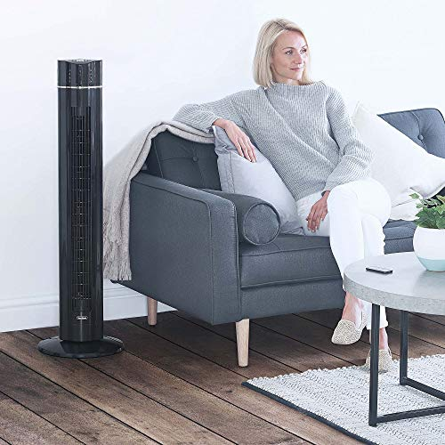 """VonHaus 43"""" Quiet Oscillating Tower Fan with Remote Control, LED Display, 3 Speed and Fan Settings, Aroma Tray and 1-8 Hour Timer"""
