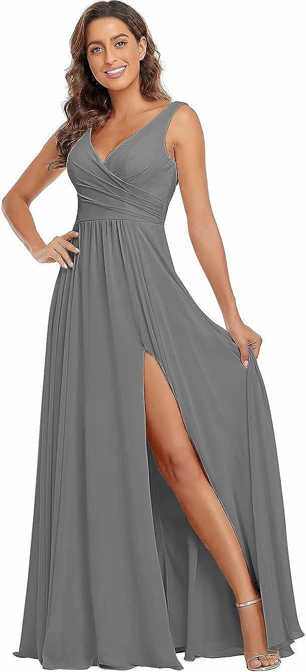 V Neck Long Bridesmaid Dresses Chiffon 上等 A 大人気 Line Form Pleated Split