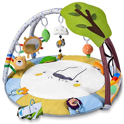 Krabbeldecke für Baby mit Bällebad, Lupantte Spieldecke mit Spielbogen für Sensorische und Motorische Fähigkeiten, Spieldecke Baby mit 9 Spielzeug, Größer, Dicker, Rutschfest, 83 x 83 x 50 CM, 0m +