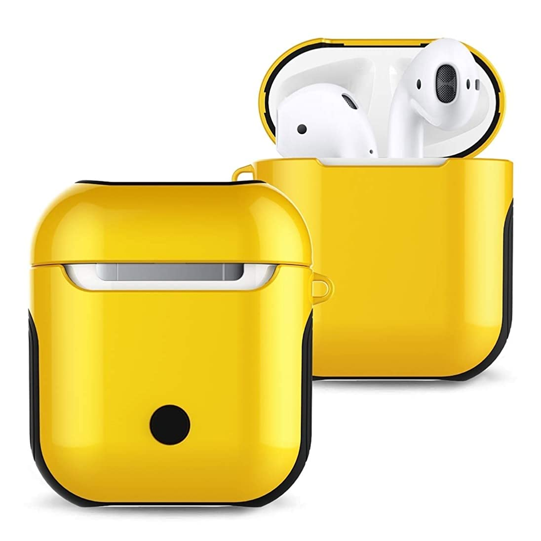 雰囲気エレベーターフルーツ野菜JIANGNIJPイヤホン保護ケース Apple AirPods 1/2用ニス塗装済みPCブルートゥースイヤホンケースAntilost収納バッグ1/2 (色 : 黄)