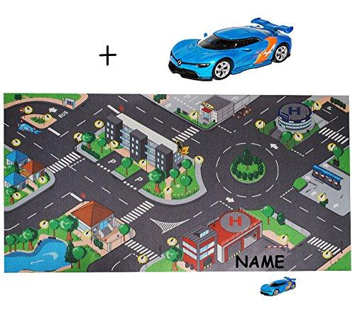 alles-meine.de GmbH Autoteppich / Spielteppich - ERWEITERBAR -  große Stadt mit Straßen  - incl. Name & Fahrzeug - für Autos - Spielmatte - Autoteppich - Fahrzeug Teppich - Kin..