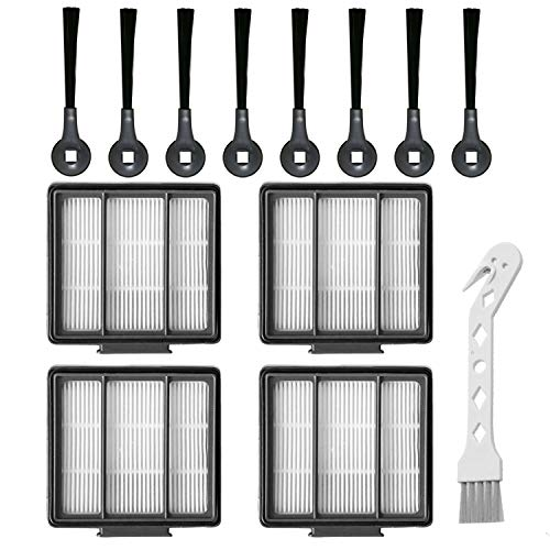 RONGJU 4 Pack HEPA Filters & 8 Side Brushes Replacement Part Set Compatible with Shark IQ R101AE (RV1001AE),IQ R101 (RV1001) Robot Vacuum Cleaner Brushes Dining Features Kitchen