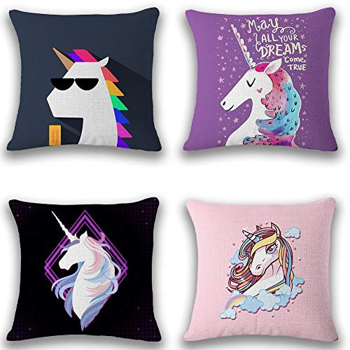 KuLuKo Cute Unicorn Throw Pillow Covers Decor Cotton Linen Home Decorative Chair Sofa Bed Cushion Covers for Patio Living Room Car Set of 4, 18x18 Inch/45x45cm 18x18 Inches