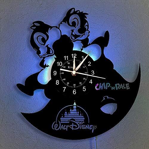 BFMBCHDJ Reloj de Dibujos Animados LED Vinyl Record Reloj de Pared Lámpara de Noche Colgante 7 Iluminación Color Decoración para el hogar Diseño Moderno Reloj de Pared Sin LED 12 Pulgadas
