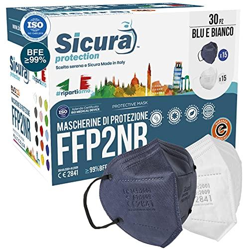 30 Mascherine FFP2 Certificate CE BLU e BIANCHE (15 + 15) SICURA Italia logo impresso BFE ≥99% Made in Italy Mascherina ffp2 SANIFICATA e sigillata singolarmente Pluri certificata ISO 13485 ISO 9001