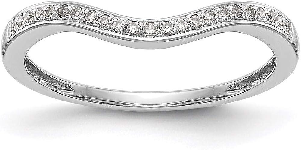 14k White Gold Diamond Wedding Band Ring, Size 7