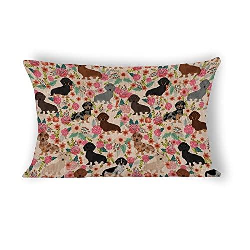 Funda de almohada de 50,8 x 76,2 cm, diseño de perro salchicha floral raza de perro decorativa de algodón y lino, funda de almohada lumbar para sofá, ropa de cama y decoración del hogar