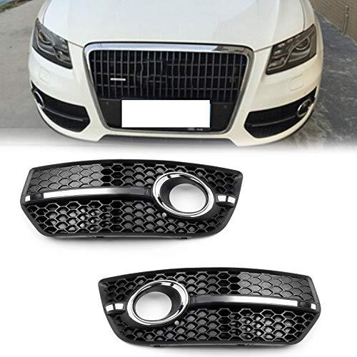 Artudatech Parrilla delantera para auto, par de rejillas de luz antiniebla delanteras inferiores, soporte de parachoques rejillas de malla para Au-di Q5 2009 2010 2011