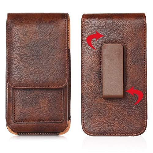 Funda universal para iPhone 12, 11, Pro, Max Holder Clip de cinturón para Galaxy Note 8 9 10+/Galaxy S20 Ultra S8 S9 S10e (color: marrón)