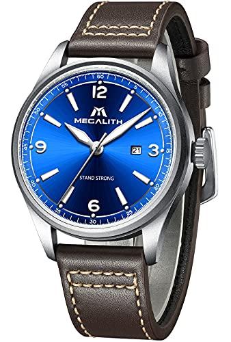 MEGALITH Herrenuhr Wasserdicht 44 mm Blau Leder Armband Analoge Uhren für Herren Minimalistisch Einfacher Designer Klassisch Quartz Uhr Einfacher Leser Beiläufig Leuchtend Armbanduhren mit Datum
