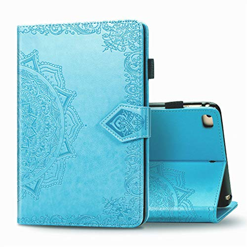 WHWOLF Case Suitable for iPad Mini 5 / Mini 4/ Mini 3/ Mini 2/ iPad Mini Case Tablet Cover PU Leather Folio Stand Wallet Shell Lightweight with Card Pocket -blue