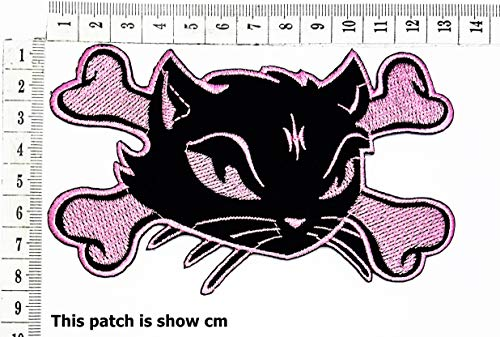 Great Deal! Pink Horrible Cat Halloween Scary Ghost cat Cartoon Chidren Kids Embroidren Iron Patch/L...