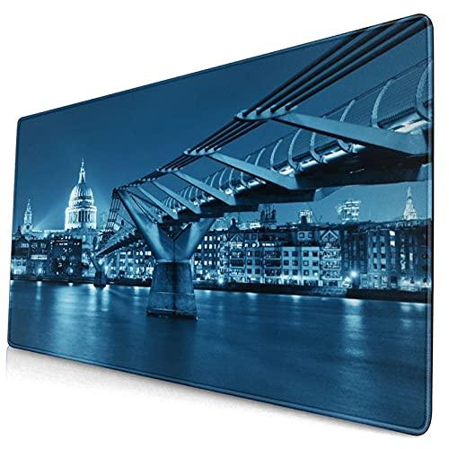Nettes Mauspad ,Millennium Bridge und St. Pauls Kathedrale in Lond,Rechteckiges rutschfestes Gummi-Mauspad für den Desktop, Gamer-Schreibtischmatte, 15,8