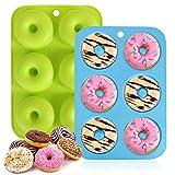 Moldes de silicona para donuts, moldes antiadherentes, para 6 donuts, bagels, magdalenas, 2...