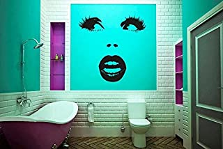 CreativeWallDecals Wall Decal Vinyl Sticker Decals Art Decor Design Beauty Salon Girl Face Eyes Lips Cosmetic Fashion Style Girls Bedroom Kids Children (r1342)