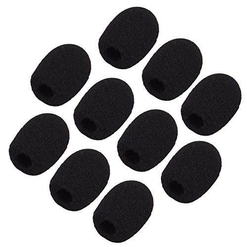 Sunmns ch05-cover Bonnettes/mousses de micro, micro-casque et micro cravate, Noir, lot de 10