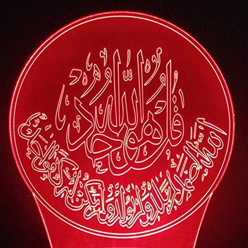 3D nachtlampje 3D LED De Koran nachtlampje 7 kleuren wijzigen tafellamp decor bedlampje slaapverlichting geschenk lamp