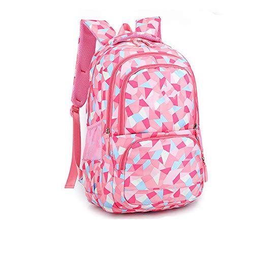 Yuan Kinderrugzak of bedrukking, geruit, schooltas voor kinderen, schoolrugzak voor jongeren, waterdicht, 48 x 33 x 24 cm, Big-Pink