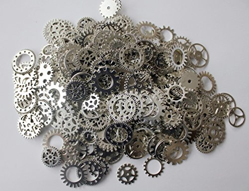 A superb selection of high quality assorted vintage alloy steampunk cogs and gears Available in Polished Gold, Polished Silver and Antique Bronze Ideal for steampunk craft, jewellery making, card making and much more Pack size: 100g (approx. 70 piece...