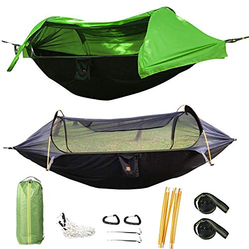 HongXingHai 3 in 1 Hammock with Mosquito Net and Rain Fly Outdoor Hammocks Tents for Camping (Green, L)