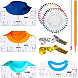 Set de Guía de Reglas de Camiseta Regla de PVC para Vinilo 4 Herramientas de Reglas para Diseño Central Regla de Alineación de Vinilo con Lápiz de Tela Alfileres de Costura Cinta Métrica