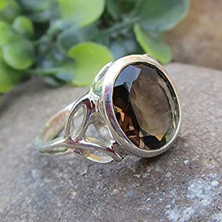 925 Sterling Silver Natural Smoky Quartz Ring Gemstone Handmade Jewelry