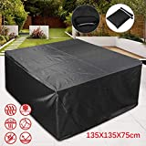 m·kvfa Garden Table Cover Outdoor Patio Furniture Winter Storage Waterproof Durable Tarpaulin Table and Chair Protective Covers (135 X 135 X 75cm)