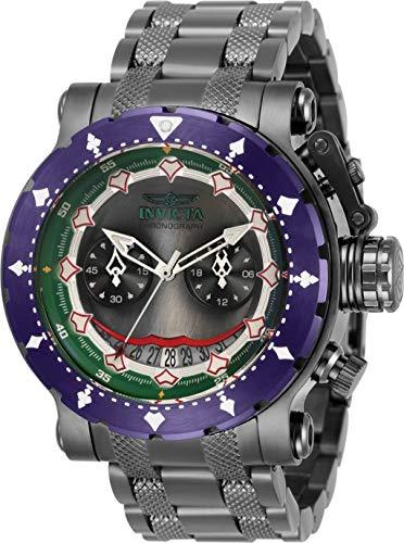 Invicta - Reloj de pulsera de acero inoxidable para hombre, 48 mm DC Comics Joker Coalition Forces edición limitada de cuarzo, cronógrafo y tono de metal