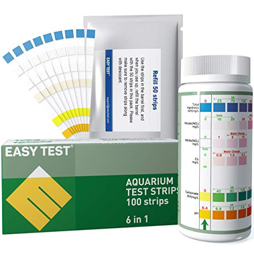 EASYTEST 6 Way Aquarium Test Strips Freshwater (50+50 Count), Aquarium Test kit, Fast and Accurate Quality Testing for Nitrate, Nitrite, General Hardness, Free Chlorine, Carbonate, pH Testing