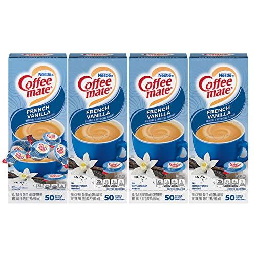 Nestle Coffee mate Coffee Creamer, French Vanilla, Liquid Creamer Singles, Non Dairy, No Refrigeration, Box of 50 Singles (Pack of 4)