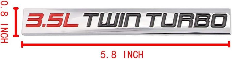 3D 3.5L Twin Turbo Emblem Chrome Finish Metal Emblem Badge Fender Trunk Car Decal Sticker Black-Red