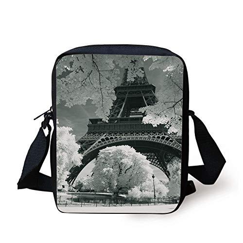 Black and White Decorations,Eiffel Tower with Blooming Trees Historic Paris Landmark,Black White Grey Print Kids Crossbody Messenger Bag Purse