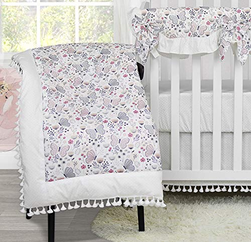 Brandream Baby Girls Butterfly Crib Comforter Sets Pink Farmhouse Infant Toddler Cotton Floral Blanket Girls Comforter with Tassel, Sweet and Elegant
